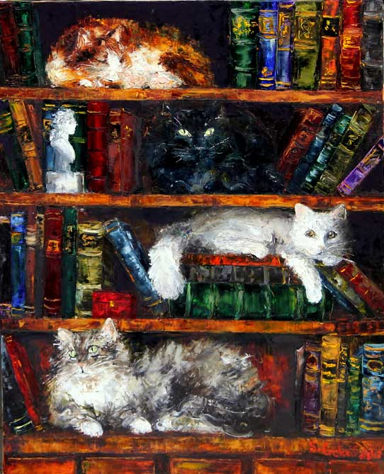 Painting by Sofia Goloubetski: Cats in a Library