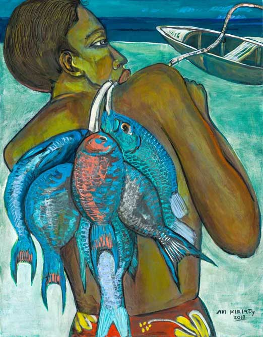 Painting by Avi Kiriaty: Kanaka Fish Back