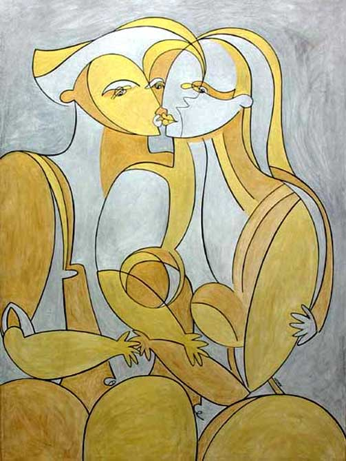 Painting by Norr: Golden Kisses