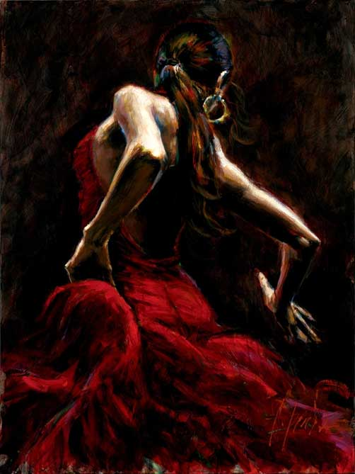 Painting by Fabian Perez: Dancer in Red
