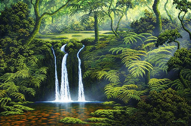 Painting by Harry Wishard: Small Waterfall in the Forest